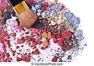 crushed eyeshadow - eyeshadow mix with brush on white...