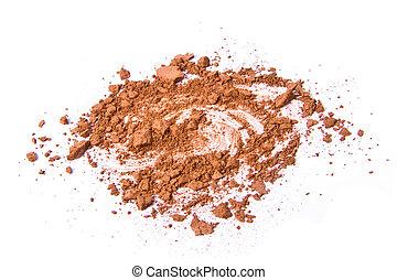 crushed eyeshadow isolated on white background