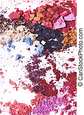 crushed eyeshadow on white background