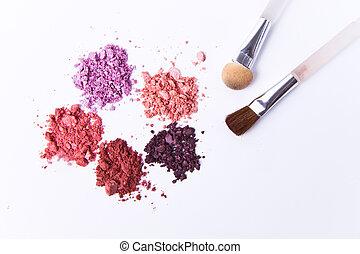 crushed eyeshadow - eyeshadow palette with brush on white...