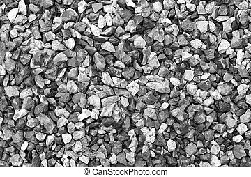 Crushed grey stone in black and white