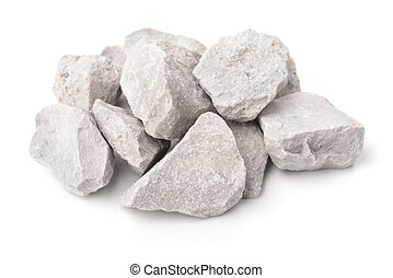Crushed marble stones isolated on white