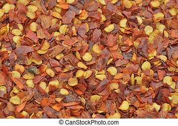 Crushed red pepper - Crushed red pepper in background...