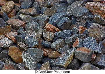 Crushed rocks macro pattern, large background