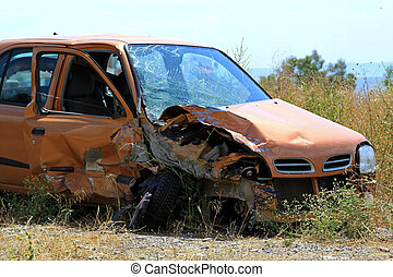 Crushed small car