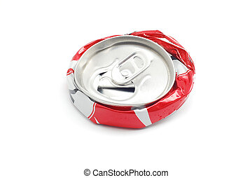crushed soda can - smashed soda can over white background