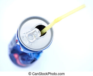 Crushed Soda Can with Straw