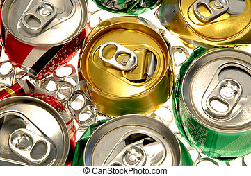 Crushed Soda Cans on white