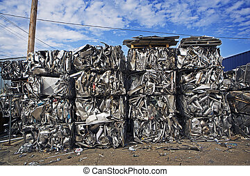 Crushed & Stacked Scrap Metal