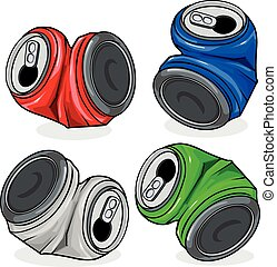 Crushed tin cans - Illustration of crushed tin cans in four...