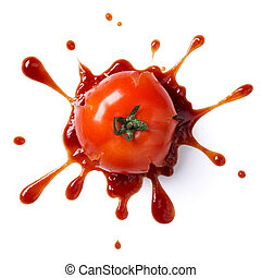 splattered tomato with ketchup isolated on white background