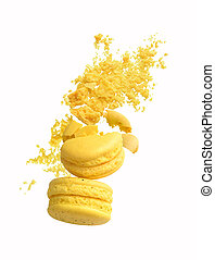 crushed yellow macaroons on a white background