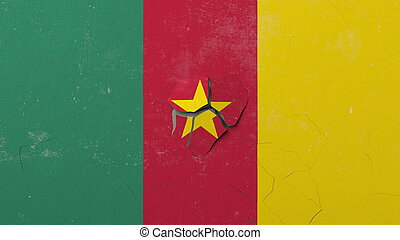 Crushing concrete wall with flag of Cameroon. Cameroonian crisis conceptual 3D rendering
