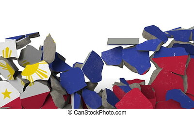 Crushing concrete wall with flag of Philippines. Filipino...