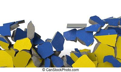 Crushing concrete wall with flag of Ukraine. Ukrainian...