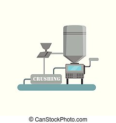 Crushing process, beer brewing production vector Illustration on a white background
