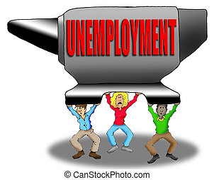 Crushing Unemployment - Cartoon Image of People Being...