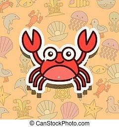 crustáceo, vida, cangrejo, mar, caricatura