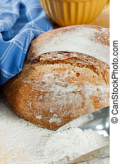 Crusty Artisan Bread With Wheat Flour - Close up of fresh...