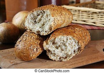 Crusty bread - Crusty whole grain country baguette.