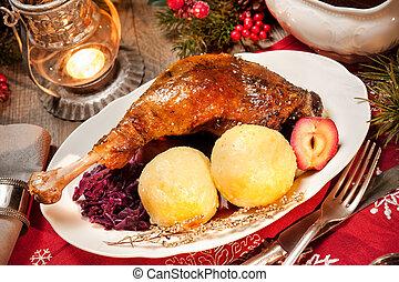 Christmas goose - Crusty Christmas goose leg with braised...