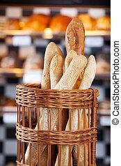 Crusty fresh baked bread in the bakery