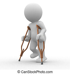 3d wounded human trying to walk with crutch