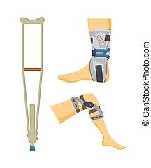 Crutch and Adjustments Set Vector Illustration