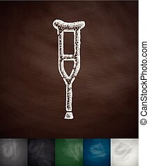 crutch icon. Hand drawn vector illustration. Chalkboard...