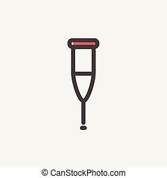 Crutch thin line icon - Crutch icon thin line for web and...