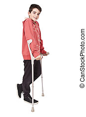 crutches, длина, белый, задний план, ребенок