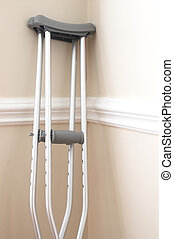 Crutches - A set of crutches used to aid the walking of...