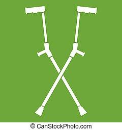 crutches, altro, verde, icona