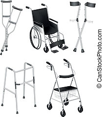 Crutches and Wheelchairs - Illustration of the crutches and...