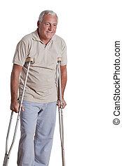 Crutches, anziano, uomo