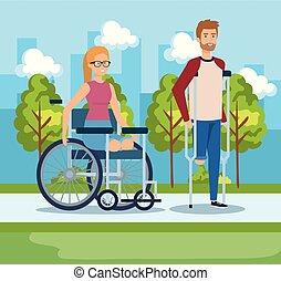 crutches, camminare, donna sedendo, carrozzella, uomo