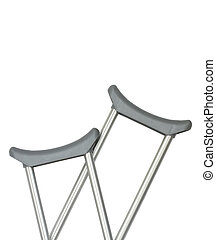 closeup of crutches over whitw