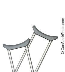 crutches closeup - closeup of crutches over whitw