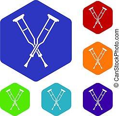 crutches, esagono, set, icone