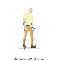 crutches, gli utenti disabili, isolato, persona, white., uomo