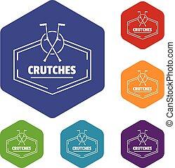 crutches, hexahedron, vettore, icone