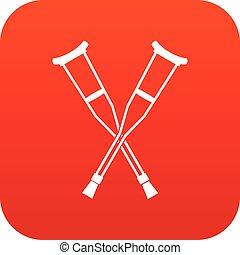 Crutches icon digital red