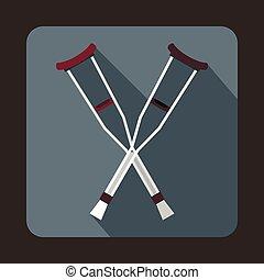 Crutches icon, flat style