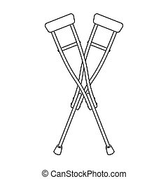 Crutches icon in outline style isolated on white background. Medicine and hospital symbol stock vector illustration.