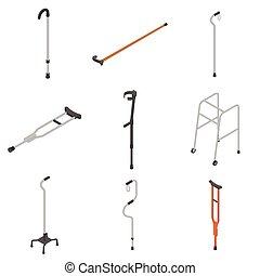 Crutches icon set, isometric style