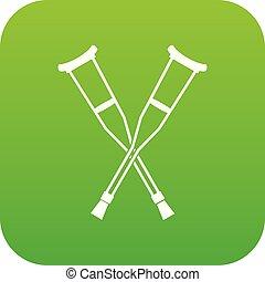 crutches, icona, verde, digitale