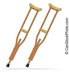 Crutches. Medical realistic objects. Treatment and...