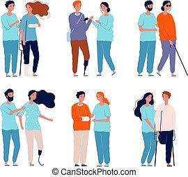 crutches, persone, immagini, carrozzella, carattere, invalido, persone, vettore, femmina, maschio, assistants.