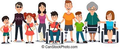 crutches, set, carrozzella, persone, incapacità, anziano, needs., invalido, characters., vettore, studente, cartone animato, speciale, uomo