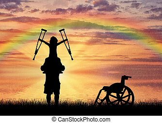 crutches, spalle, padre, invalido, tenere bambino, felice